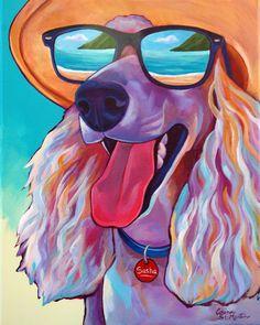 Colorful pet portrait commissions by corina st martin corina Cocker Spaniel Breeds, Dog Artwork, Painting Collage, Paintings, Wildlife Art, Dog Photos, Pet Portraits, Photo Art, Canvas Art