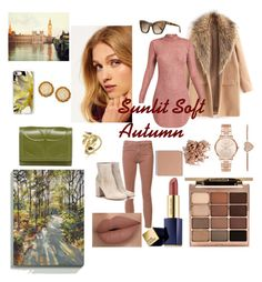 Sunlit Soft Autumn by naturalcolormosaic on Polyvore featuring Superdry, AG Adriano Goldschmied, Gianvito Rossi, Orla Kiely, Michael Kors, Casetify, Prism, Stila, Trish McEvoy and Estée Lauder