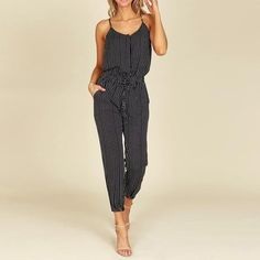 70910f53d98e 2018 Summer ZNAZEA Rompers Women Striped Jumpsuits Casual Sleeveless  Elastic Waist Strappy Bodysuits V Neck Long