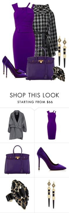 """""""purple"""" by oggythecat ❤ liked on Polyvore featuring Kenzo, Karen Millen, Hermès, Nicholas Kirkwood, Roberto Cavalli, House of Harlow 1960, purple and Wearitoutfitonly"""