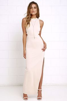 Get glamorous, with a bit of spice in the Intents and Purposes Beige Sleeveless Maxi Dress! Sleek and stretchy, medium-weight knit fabric begins at a funnel neckline atop a darted, sleeveless bodice with caged cutouts at the sides. Banded waist leads into a darted maxi skirt with a daring, thigh-high side slit. Hidden back zipper with clasp.