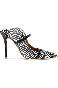 Heel measures approximately inches Black and white satin, black leather (Kid) Slip on Made in ItalySmall to size. Top Designer Brands, Designer Shoes, Malone Souliers, Jennifer Fisher, Zebra Print, Heeled Mules, Shoe Boots, Christian Louboutin, Kitten Heels