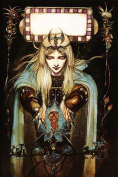 Yoshitaka Amano, more on this exceptional artist...http://en.wikipedia.org/wiki/Yoshitaka_Amano