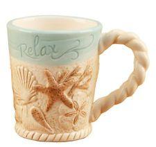 Coastal Shells and Starfish Nautical Coffee Latte Tea Mug