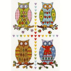 Bothy Threads Four Owls Cross Stitch Kit £19.99 including postage