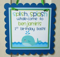 NEW Whale of a Party Welcome Sign by ciaobambino on Etsy, $12.00