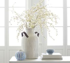 Crafted by hand, these ceramics bear the gentle distressing of the artisan who made them. Fill with fresh or faux botanicals and branches. Farmhouse Vases, Farmhouse Kitchen Decor, Faux Flower Arrangements, Vase Arrangements, Kitchen Island Decor, Bedding Inspiration, Big Vases, Branch Decor, White Vases