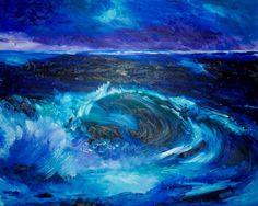 Original Art Print. Ocean splashing wave original oil by BrandanC