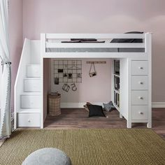 Ayres Twin Loft Bed with Drawers and Shelves Harriet Bee Ayres Twin Wood Loft Bed with Staircase & R Loft Beds For Small Rooms, Loft Beds For Teens, Cool Loft Beds, Bed For Girls Room, Teen Loft Beds, Cool Beds For Kids, Bed Ideas For Kids, Room Kids, Small Bedrooms