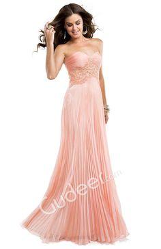 Crystal Pleated Chiffon Strapless A-line Sweet Mint Prom Dress