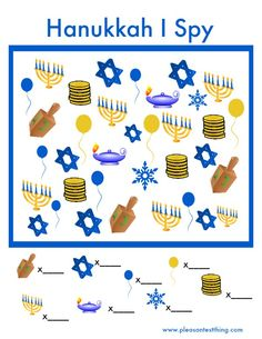 "Spy Hanukkah ""I Spy"" (free; from The Pleasantest Thing) Hanukkah I Spy Hanukkah ""I Spy"" (free; from The Pleasantest Thing)I Spy Hanukkah ""I Spy"" (free; from The Pleasantest Thing) Hanukkah I Spy Hanukkah ""I Spy"" (free; from The Pleasantest Thing) Feliz Hanukkah, Hanukkah Crafts, Christmas Hanukkah, Hannukah, Holiday Games, Christmas Activities, Holiday Fun, Preschool Christmas, Winter Activities"