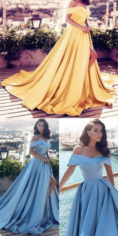 elegant off shoulder prom party dresses, dreamy ball gowns with train split for formal evening party.