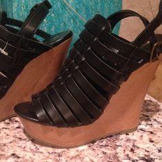 Platform wedges Black caged platform wedges !! New Shoes Platforms