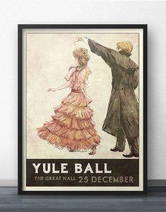 Yule Ball Poster - Style rétro des années 1930 - inspiré par Harry Potter (robe rose)