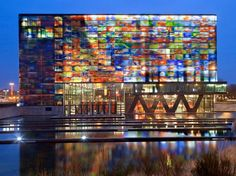 The Netherlands Institute for Sound and Vision is home to a massive archive of Dutch television, radio, music, and film—all contained within a cubic shell of colorful glass.