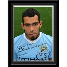 Carlos Tevez Signed PhotoThis is a fantastic present for any Manchester City fan and is approved and fully licensed by Man City.    This is a unique gift displaying the player's photo and a personalised message alongside his replica printed autograph.     Choose from Adam Johnson, Kolorov,  Pantilimon,Tevez, Silva, Dzeko, Clichy, Barry, Hart, Milner, Kolo Toure, Ballotelli, De Jong, Zabaleta, Mancini, Kompany, Yaya Toure, Nasri, Aguero & Savic.         Messages Available:    Birthday Kolo Toure, Adam Johnson, Unique Gifts, Great Gifts, Manchester City, Gifts For Boys, Messages, Baseball Cards, Birthday