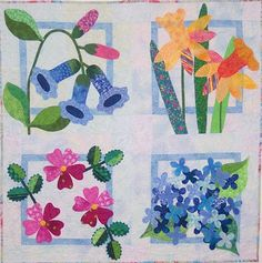 Kelly at Pinkadot Quilts flower blocks spring