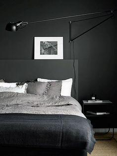 #blackwalls #blackinterior #bedroom