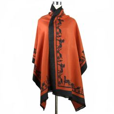 Oranje Winter Vrouwen Kasjmier Shawl Sjaal Pashmina Omkeerbare Dikke Cape Europa Amerika Merk Stole Poncho 188*64 cm C095