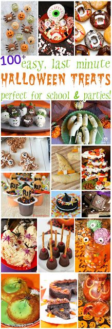 100 Easy Last Minute Halloween Treats- spooktacular desserts snacks and drinks to enjoy! Halloween Desserts, Halloween Treats, Halloween Week, Halloween Party, Halloween Cookies, Happy Halloween, Halloween Decorations, Holiday Recipes, Great Recipes