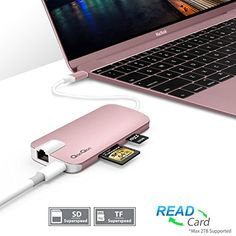 #qacqoc #GN30H Premium #USB-C Hub with Power Delivery 3 SuperSpeed USB 3.0 Ports for MacBook 12-Inch(RoseGold) #macbook #macbookpro  #iPhone #apple