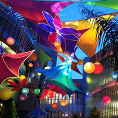 aerial fabric installation by Precon events - I want kites for my library