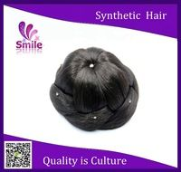 Fashion Synthetic women Diamond hair buns pieces wholesale new style high-hair-bun Hot selling Virgin clip in on hair chignon