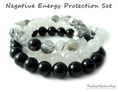 Black Tourmaline, White Jade and Tourmalated Quartz $75 for the set of 3.  10% off with coupon code PIN10 #healingjewelry #reiki #crystalhealing