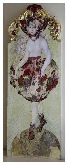 "Margriet Thissen/ Wandpaneel Sarah. Ca 120x50 cm. Niet te koop  Margriet Thissen, wall panel Sarah. Approx  47x19,5"". Not for sale"