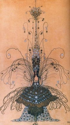 Leon Bakst drawing for the Queen of the night costume, 1922