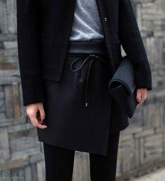 Leather geometric skirt.