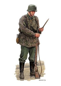 artwork of the russian artist Dmitriy zigonnik showing a german waffen ss soldier during the early war period