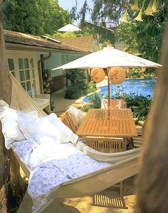 "hammock for reading and snoozing. This is from one of my fave  books, ""shabby chic home"""