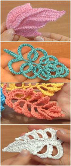 4 Beautiful Leaves to Crochet - Best Knitting Pattern Crochet Puff Flower, Crochet Flower Tutorial, Crochet Leaves, Crochet Motifs, Crochet Flower Patterns, Crochet Jewelry Patterns, Freeform Crochet, Crochet Flowers, Crochet Ideas