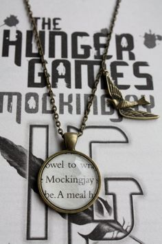 Hunger Games 'Mockingjay' Book Charm by PrettyLittleCharmsUK, - these are pretty cool using pages of the books