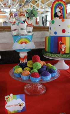 Rainbow treats at a Baby TV birthday party! See more party ideas at CatchMyParty.com!