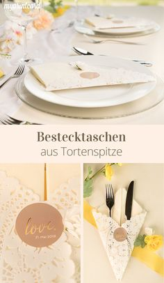 Bestecktaschen aus Tortenspitze Do not feel like a boring wedding table? Then we have the idea for you! Make romantic cutlery bags for your wedding. The special thing about it: The sweet look with cake tip is not only practical,… Weiterlesen → Wedding Bag, Wedding News, Wedding Napkins, Wedding Themes, Boho Wedding, Wedding Table, Wedding Events, Rustic Wedding Decorations, Table Decorations