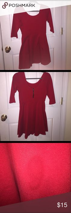 Express Red Dress Quarter sleeve A-line cotton dress, flattering on every shape. Only worn a handful of times. Small stain on the front, barely noticeable and easy to remove. Express Dresses Midi