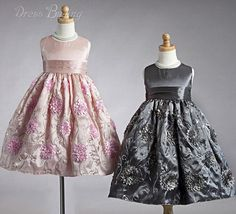 Cute A-line Tea-length Round-Neck Embroidery Flower Girl Dress