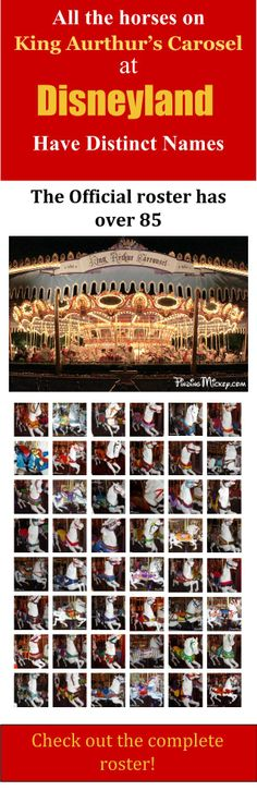 """The carousel at Disneyland is a """"true"""" carousel in that it has only horses, and each horse has its own name."""