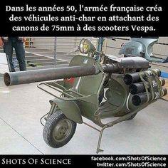Plus dinfos (en anglais) : https://en.wikipedia.org/wiki/Vespa_150_TAP #armée #scooters #vespa Dans les années 50 larmée française créa des véhicules anti-char en attachant des canons de 75mm à des scooters Vespa.