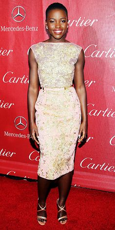 Look of the Day - January 6, 2014 - Lupita Nyong'o in Elie Saab from #InStyle