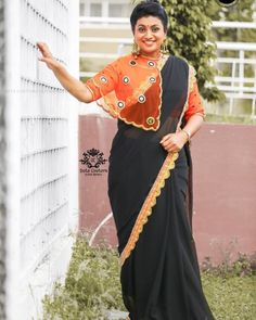 At age Roja Steals the Show with Her Saree Style! Saree Jacket Designs, Saree Blouse Neck Designs, Sari Blouse Designs, Designer Blouse Patterns, Fancy Blouse Designs, Lehenga Designs, Saree Wearing Styles, Saree Styles, Mirror Blouse Design