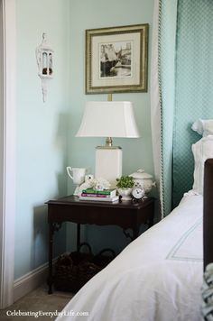 Love this paint color - It's a custom Benjamin Moore's color - Spring Mint & Antiguan Sky mixed together in equal parts - Custom Color Codes - go here: http://celebratingeverydaylife.com/4-tips-for-how-to-choose-paint-colors-for-your-home/