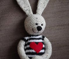 crochet bunny / stuffed animal friend / amigurumi toy / black