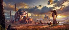 statue cacti art pursue ruins feng liu the city fantasy castle wallpaper background