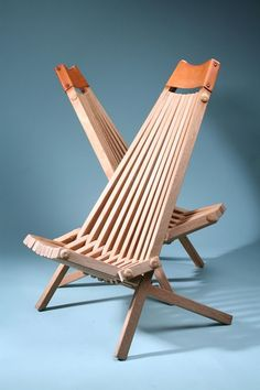 Folding chairs made from Teak and leather by an anonymous woodworker in Denmark.