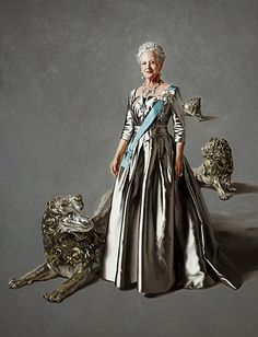Portrait of Queen Margrethe of Denmark. At Mikael Melbye's painting the Queen is flanked by the three silver lions, who guard the Great Hall at Rosenborg Castle. The lions symbolize the commonwealth between Greenland, the Faroe Islands and Denmark.