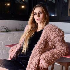 Dusty Pink, Blush Pink, Fluffy Coat, Fur Coat, Coats, Fashion Outfits, Long Sleeve, Clothing, Sleeves