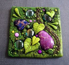 Mosaic Art Tile, Purple Jasper and Green Leaves Sun Catcher Found Objects